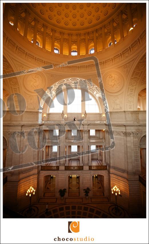 San Francisco City Hall edgy wedding photography